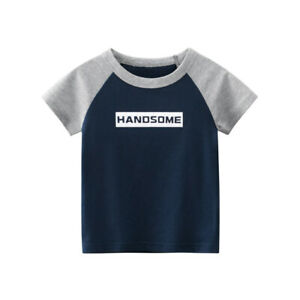 Kids Top Short Sleeve Boys T-shirt Girls Collarless Tee 100% Cotton ^