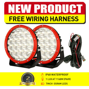 NEW Pair 7inch OSRAM LED Driving Lights Round RED Spot Beam OffRoad Truck 4x4