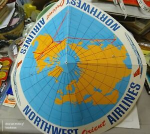 1960's Northwest Orient Airlines Asian Paper Hat Advertising