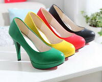 Womens High Heels Slip On Stiletto Pumps Party Wedding Court Shoes Size UK 2-9.5