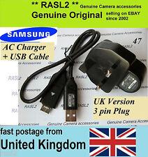 Original Samsung Cargador + USB Cable P1200 WB500 WB550 WB600 WB5000 EX1 HZ1 ES73