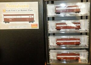 Z Scale Micro Trains - Pennsylvania Railroad 50' Box Car 4 Car set - 99400081