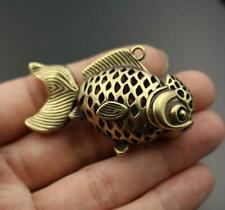 """2"""" Curio Chinese Bronze Animal Fish Hollow Out Small Goldfish Statue Pendant"""