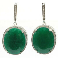 40x20mm Big 17.1g Gemstone Real Green Emerald CZ Woman's Party Silver Earrings