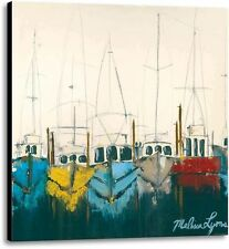 At The Dock by Melissa Lyons Seascape Fishing Boats Ready To Hang Canvas 24x24