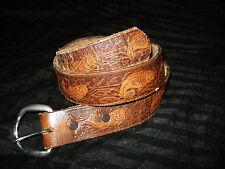 Vintage Dakota Belt Company Tooled Leather Bass Fish Fishing Buckle 28 27 29 30