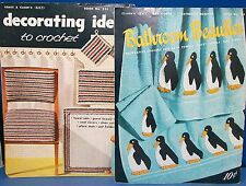 LOT of 2-Vintage Crochet Booklets-BATHROOM BEAUTIES and DECORATING IDEAS-photos