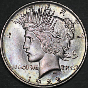 1922 Peace Dollar $1 - Gem Uncirculated - Colorful Toning