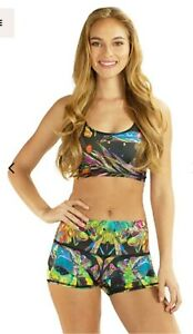RE3 LIFE MULTICOLOURED TROPICAL ADVENTURE CROP TOP AND HOTPANT SET SIZE XS/S