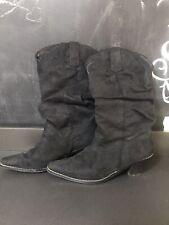 Ladies Black Suede Look Boho Cowboy Boots Size 5 (38)
