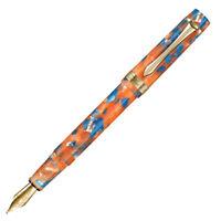 LIY Orange Resin Fountain Pen Schmidt F Nib Gold Trim Converter Writing Gift Set