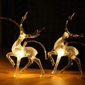 Christmas Deer String Fairy Lights Xmas LED Elk Twinkle Light Garden Party Decor