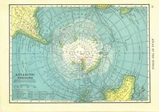 1911 Handy Atlas Vintage Map Pages - Antarctic Map on one side and Arctic Map.
