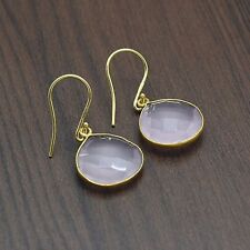 Rose Quartz Gemstone 22k Yellow Gold Plated Handmade Earrings