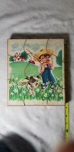 Vintage 1950's Two Sided Whitman Holgate Wooden Puzzle Child & Animal - RARE!