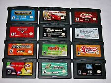 Lot of 12 GBA Games Cars Corvette Star Wars Backyard Sports Kong - Nintendo SP