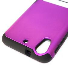For HTC Desire 626 626S - HARD & SOFT RUBBER HYBRID SKIN CASE COVER PURPLE STAND