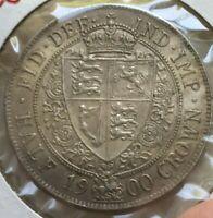 1900 Great Britain 1/2 Half Crown - Nice Condition - Almost Uncirculated