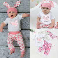 Newborn Baby Girls Boys Cartoon Bunny Rabbit Romper Tops Pants Hat Outfits Set