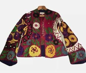 Embroidered jacket handmade100%silk blazer jacket with embroidery size uk 8