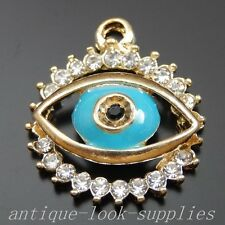 39937 Gold Alloy Rhinestone Blue Eye Pendants Charms Jewellery Finding 10Pcs