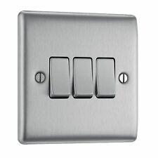 BG NBS43 10 A 3-Gang 2-Way Metal Brushed Steel Light Switch