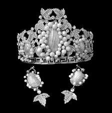 Luxury White Peal Shell Beads & Crystal Rhintstones Crown & Earring Clip On Set