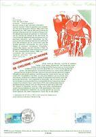 Timbre 1er jour sur document philatélique -Champ.du Monde Cyclisme CHAMBERY 1989