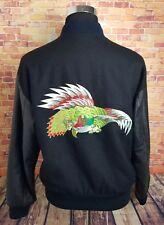 VTG International Male Mens S Wool Leather Varsity Jacket Black Embroidered Bird