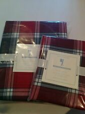 Pottery Barn Kids PLAID Orgainc Twin Duvet Cover & Sham NWT Red Christmas