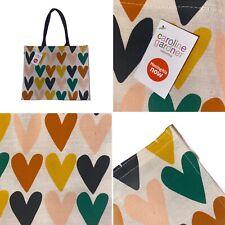 🌟 Caroline Gardner Waitrose Sac coeurs multi couleur Jute Réutilisable Sac Caba...