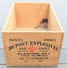 Vintage Dupont Explosives Red Cross Wooden Crate