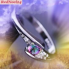 STRATIFYING ROUND MYSTIC TOPAX & WHITE TOPAZ SILVER PLATED RING SZ 9.75 (S 1/2)