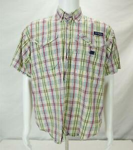 Columbia Short Sleeve Button Down Double Pocket Plaid Men's S