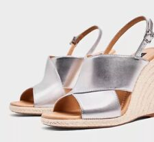 New ZARA  Women Silver Metalic Wedge Heel Espadrilles SZ 6.5