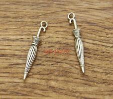 20pcs Umbrella Charms Rain Charm Jewelry Making Antique Silver Tone 35x6mm 1511