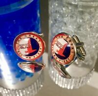 2 Fly Eastern Airlines Cufflinks Old Logo With Glass Dome 20mm