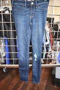 HOLLISTER COTTON DARK BLUE WASH DISTRESS DENIM JEAN LEGGING SIZE 00 / 23 ON SALE
