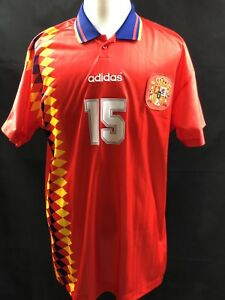 Spain adidas Home Jersey #15 Caminero World Cup Soccer Sz L