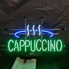 "Cappuccino Coffee Cafe Neon Light Sign 24""x16"" Beer Bar Decor Lamp Glass Artwork"