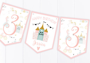 Personalised Princess Happy Birthday Bunting, Children's Party Decoration Banner