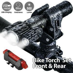 Bike Front & Rear LED Lights Set Mountain Bicycle USB Rechargeable Torch Lamp AU