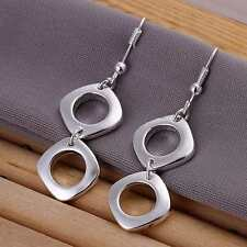 *UK* 925 SILVER PLT DOUBLE HOLLOW SQUARE DROP DANGLE HOOK EARRINGS CIRCLE OVAL