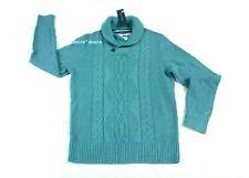 $90 New Mens TOMMY HILFIGER Pima/Merino Shawl Sweater SMALL Blue Lake wool