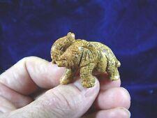 (Y-Ele-St-553) Elephant gemstone Tan Jasper Stone carving gem Trunk Up figurine