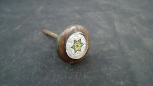 """Antique Victorian Picture Rail Hanger Picture Nail Brass Glass Green Star 1 1/2"""""""