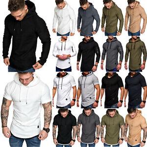Mens Pullover Hooded Sweatshirt Long & Short Sleeve Hoodies Slim Fit Sportswear