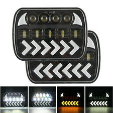 "5x7 7x6"" LED Headlight Hi-Lo Beam fit 86-95 Jeep Wrangler YJ 84-01 Cherokee XJ"