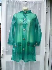 GREEN PVC TRANSPARENT MAC / MACK / RAIN COAT SZ 8  FLORAL BUTTONS / FESTIVAL
