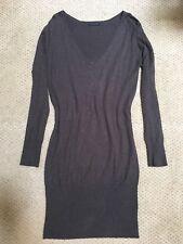 Sisley Sweater Dress S/M V-neck Long Sleeve Chocolate Brown Heather EUC